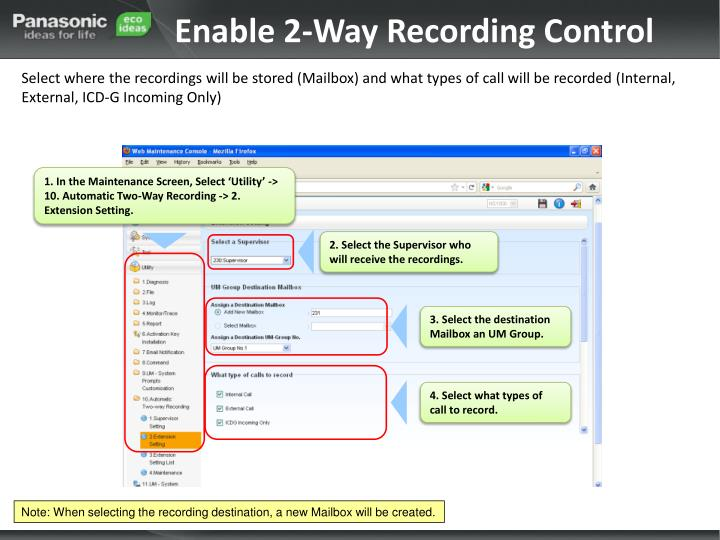 Enable 2-Way Recording Control