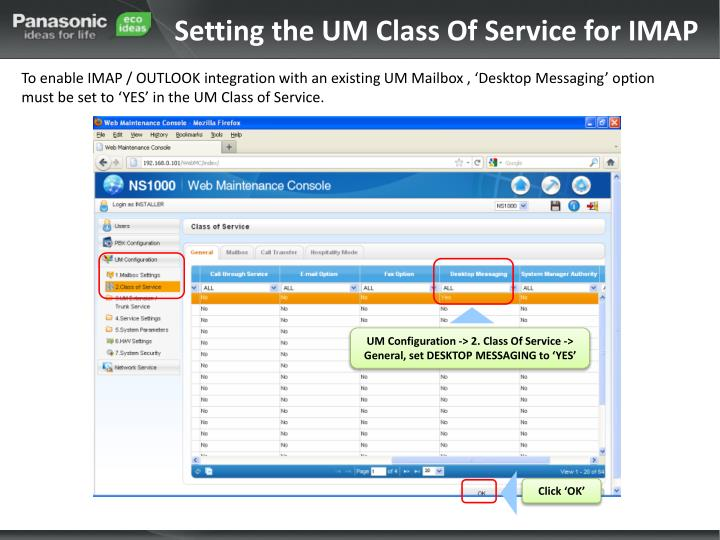 Setting the UM Class Of Service for IMAP