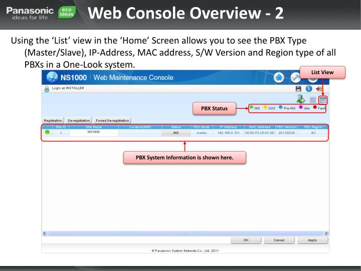 Web Console Overview - 2