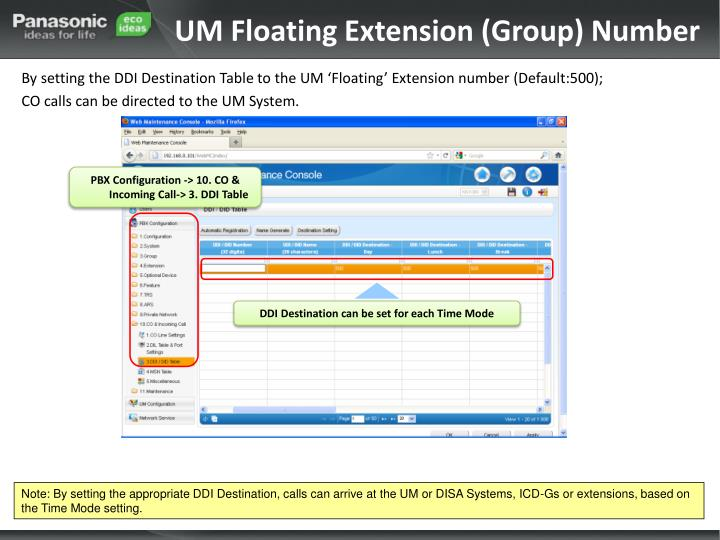 UM Floating Extension (Group) Number