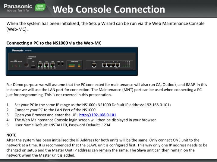 Web Console Connection