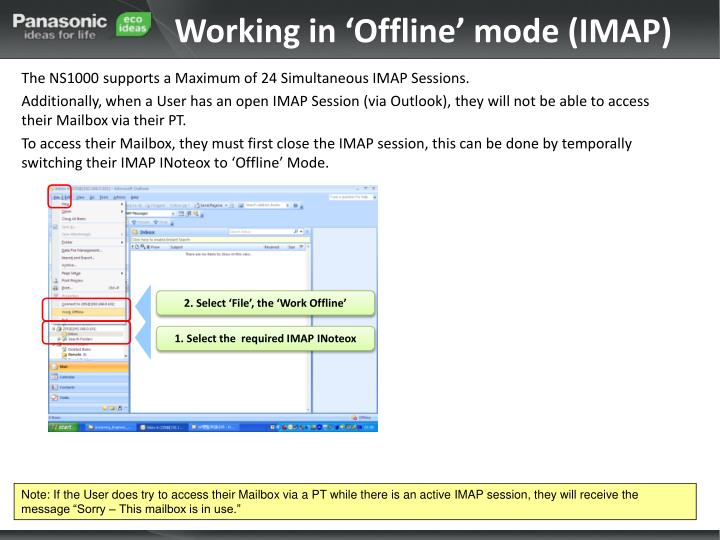 Working in 'Offline' mode (IMAP)