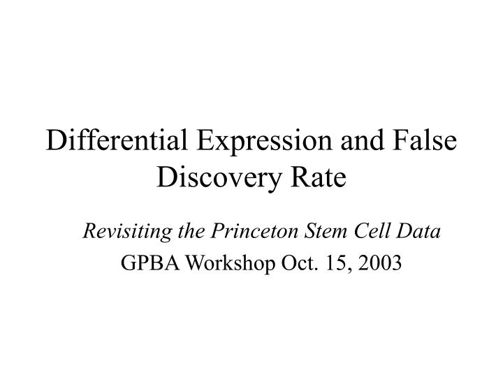 differential expression and false discovery rate