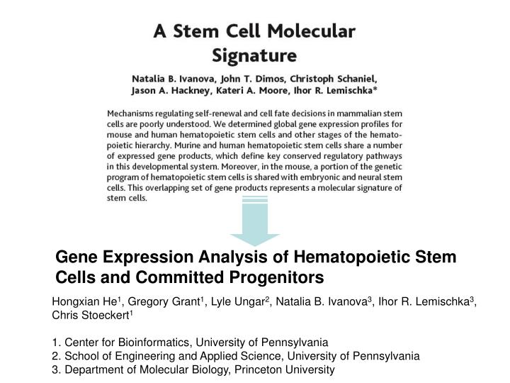 Gene Expression Analysis of Hematopoietic Stem Cells and Committed Progenitors