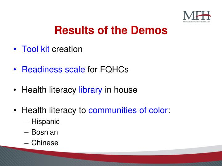 Results of the Demos