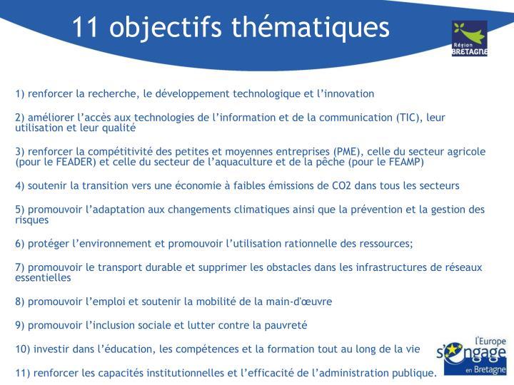 11 objectifs thématiques