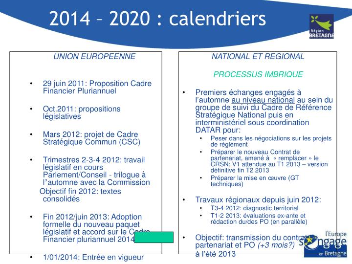 2014 – 2020 : calendriers
