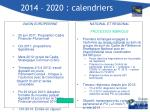 2014 2020 calendriers