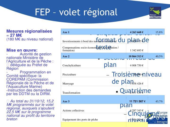 FEP – volet régional