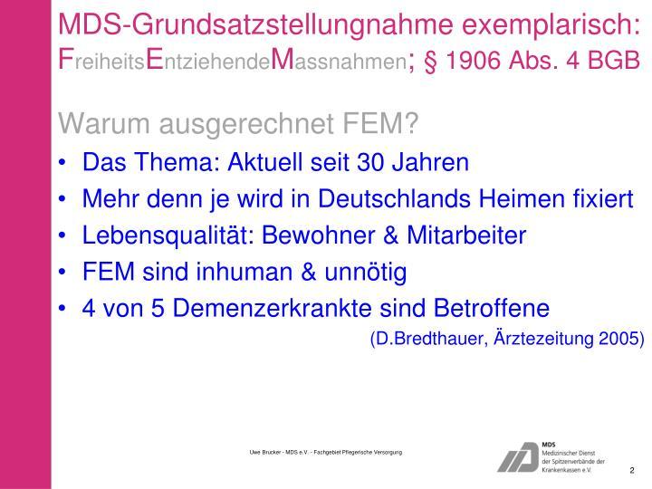 MDS-Grundsatzstellungnahme exemplarisch: