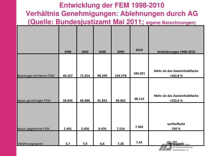 Entwicklung der FEM 1998-2010