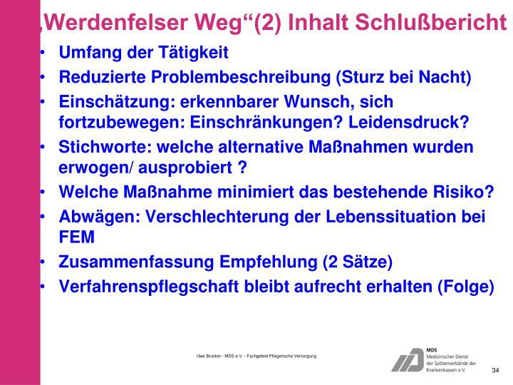 """""""Werdenfelser Weg""""(2) Inhalt Schlußbericht"""