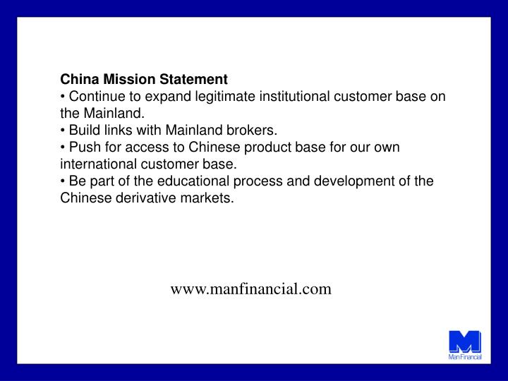 China Mission Statement
