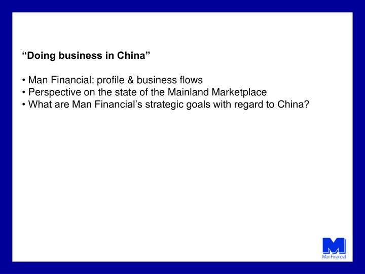 """""""Doing business in China"""""""