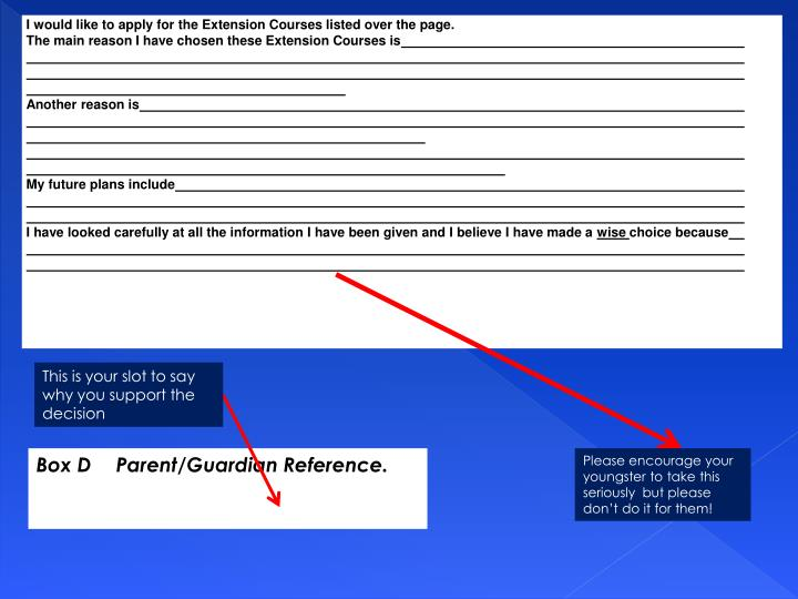 I would like to apply for the Extension Courses listed over the page.