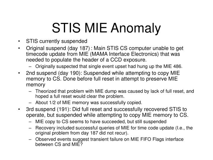 STIS MIE Anomaly