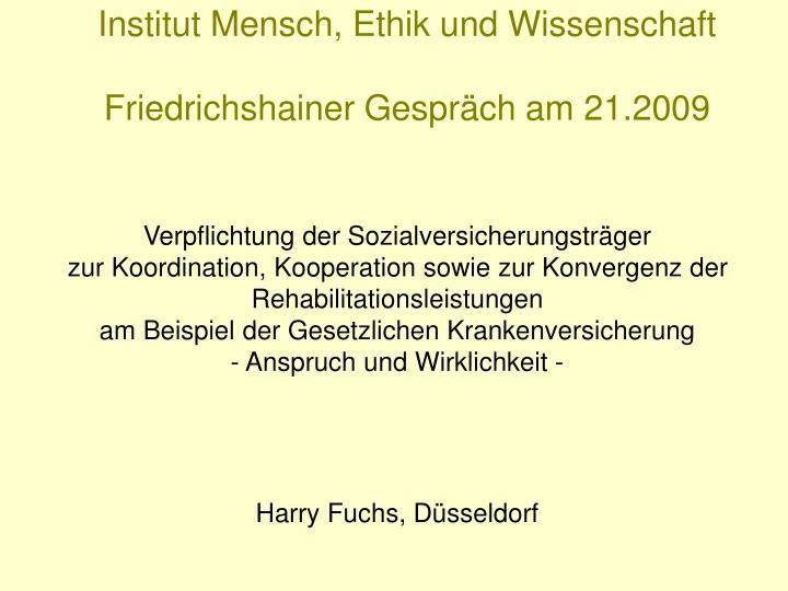 Institut Mensch, Ethik und Wissenschaft