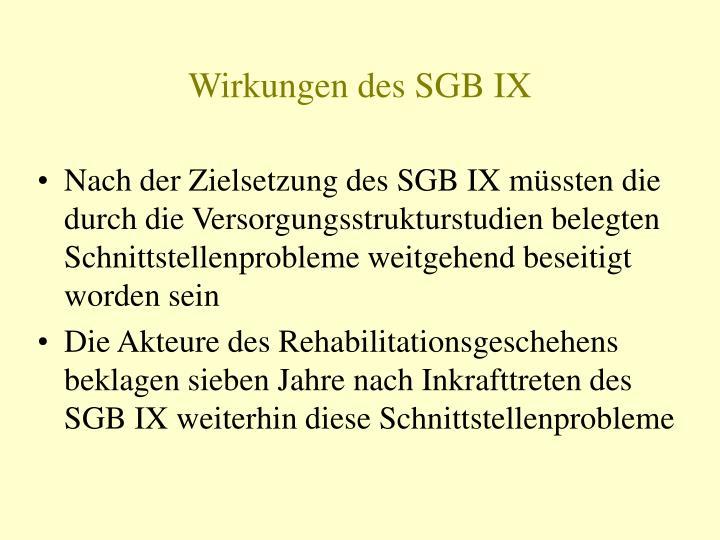 Wirkungen des SGB IX