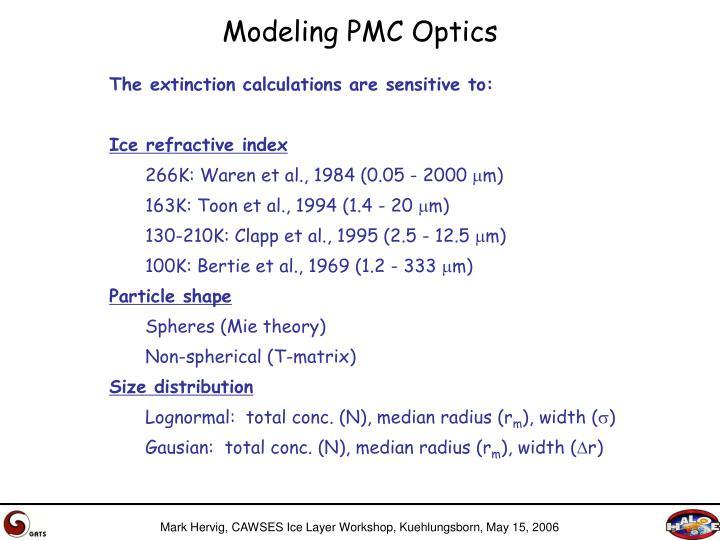 Modeling PMC Optics