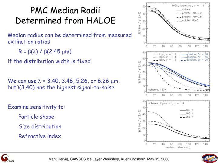 PMC Median Radii