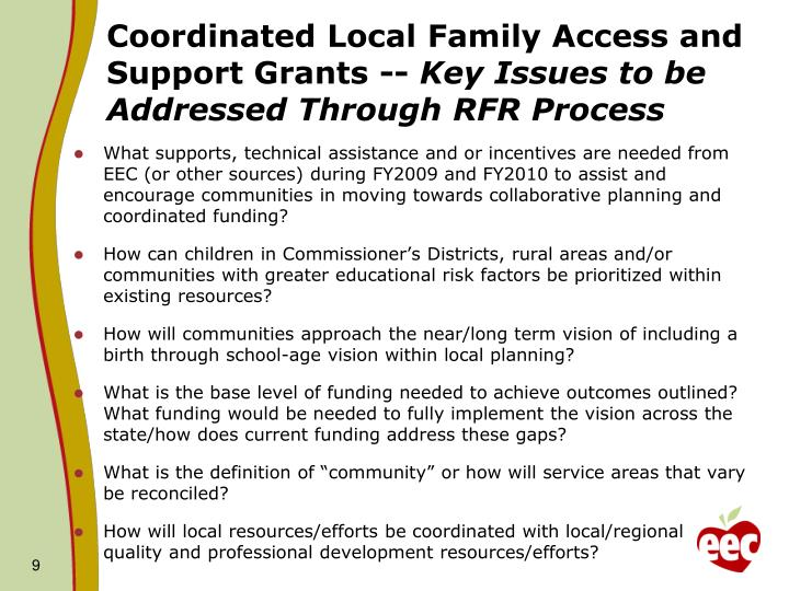 Coordinated Local Family Access and Support Grants --