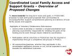 coordinated local family access and support grants overview of proposed changes