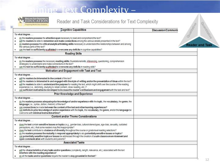 Determining Text Complexity –