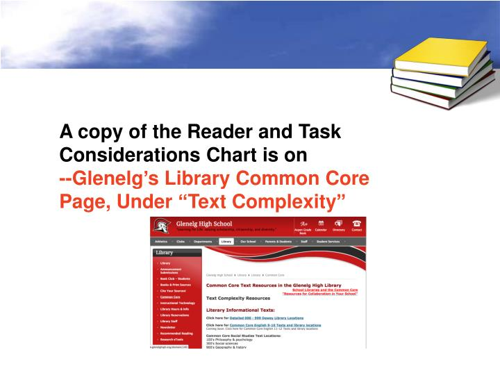 A copy of the Reader and Task Considerations Chart is on