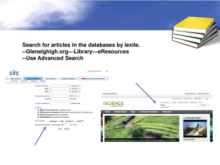 Search for articles in the databases by lexile.