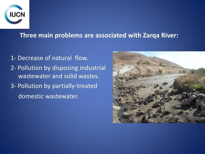 Three main problems are associated with Zarqa River: