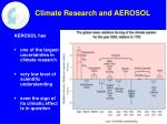 climate research and aerosol