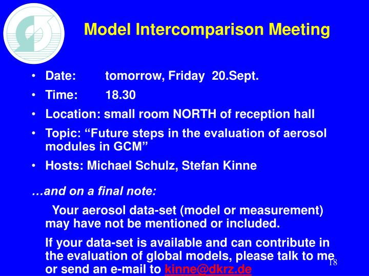 Model Intercomparison Meeting