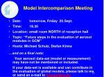 model intercomparison meeting
