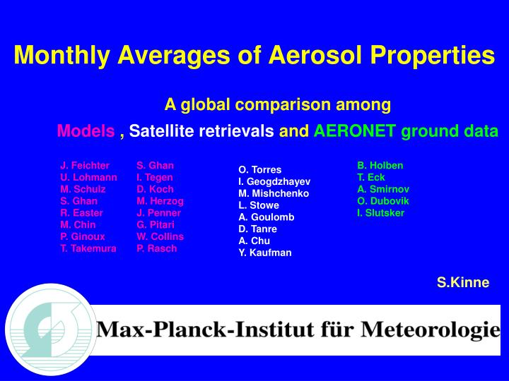 Monthly Averages of Aerosol Properties