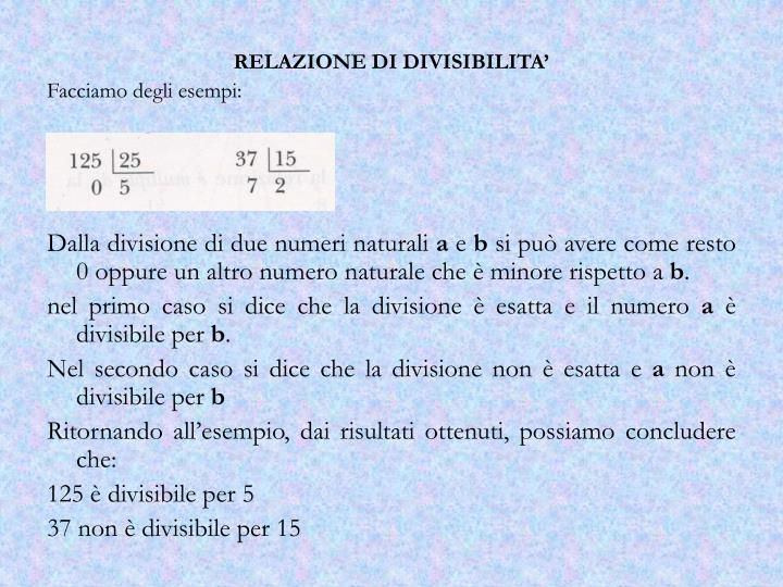 RELAZIONE DI DIVISIBILITA'