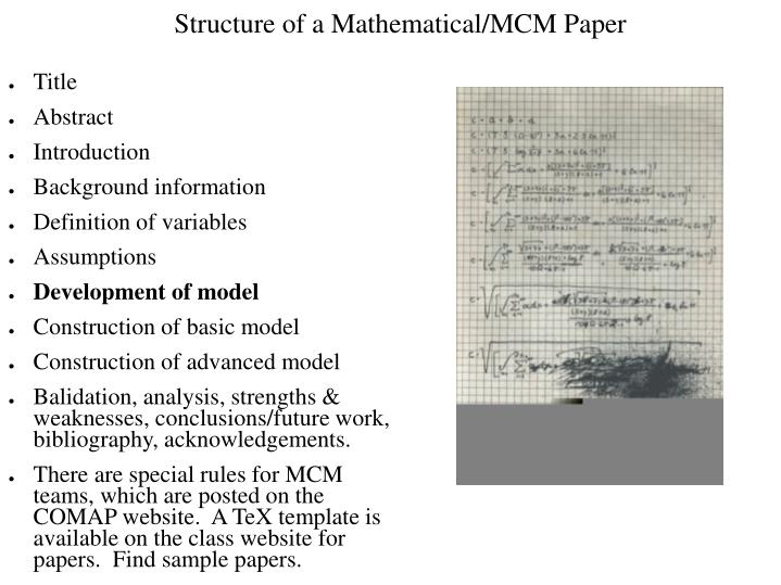 Structure of a Mathematical/MCM Paper