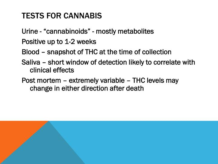 Tests for Cannabis