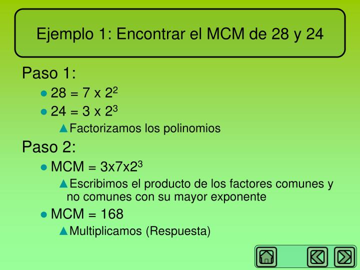 Ejemplo 1: Encontrar el MCM de 28 y 24