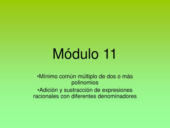 Módulo 11