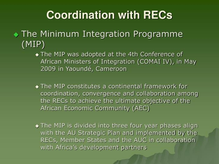 Coordination with RECs