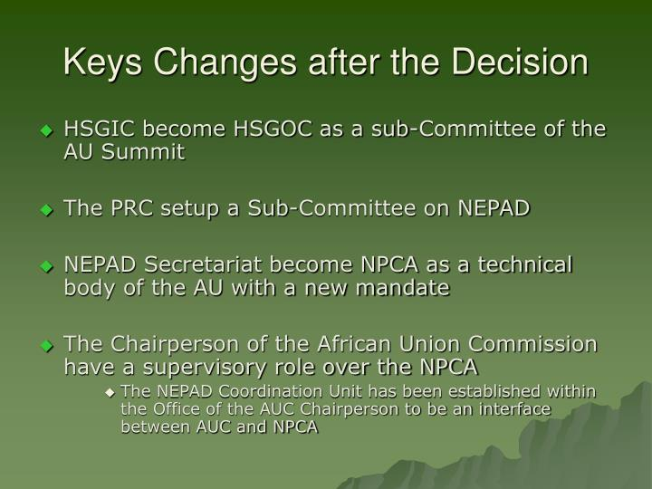 Keys Changes after the Decision