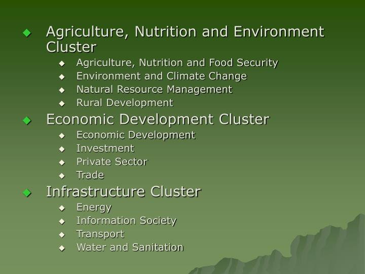 Agriculture, Nutrition and Environment Cluster