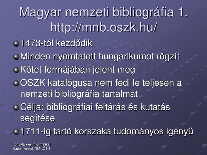 Magyar nemzeti bibliográfia 1.