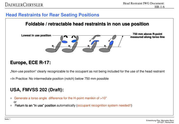 Head Restraint IWG Document:  HR-1-6