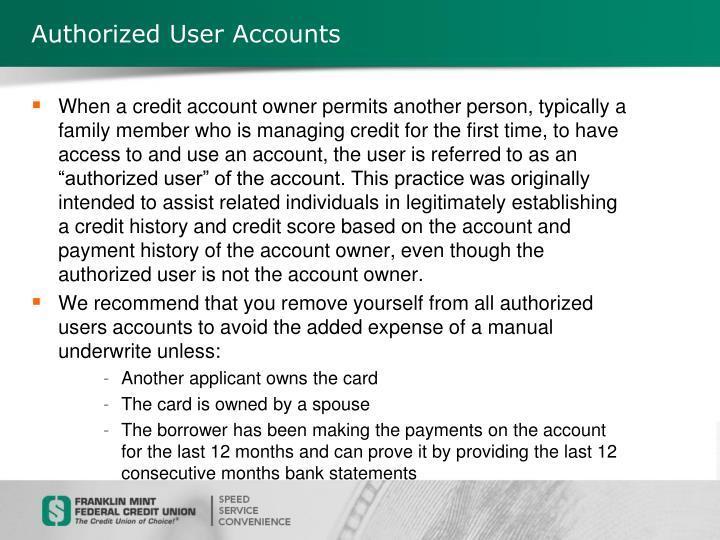 Authorized User Accounts