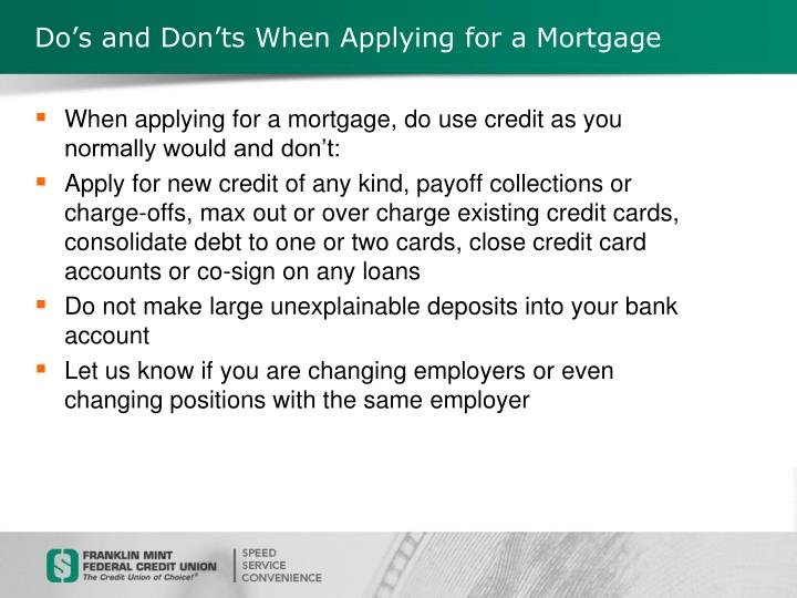 Do's and Don'ts When Applying for a Mortgage