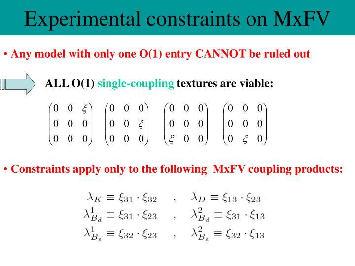 Experimental constraints on MxFV