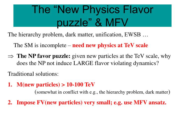 """The """"New Physics Flavor puzzle"""" & MFV"""