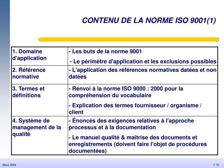 CONTENU DE LA NORME ISO 9001(1)