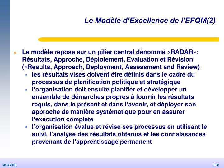Le Modèle d'Excellence de l'EFQM(2)